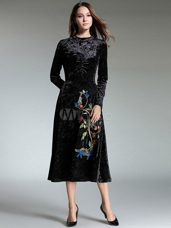 Women Velour Dress Embroidered Black Long Sleeve Women Dress (Women\\'s Clothing Maxi Dresses) photo