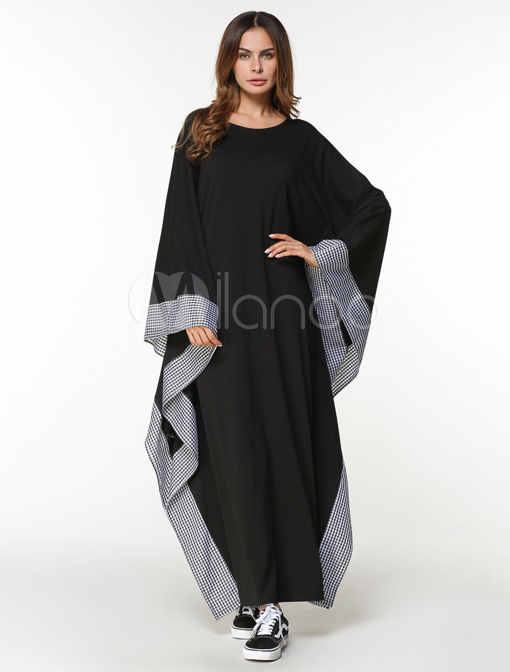 Black Abaya Dress Muslim Oversized Long Sleeve Batwing Women Maxi Kaftan Dress (Women\\'s Clothing Arabian Clothing) photo