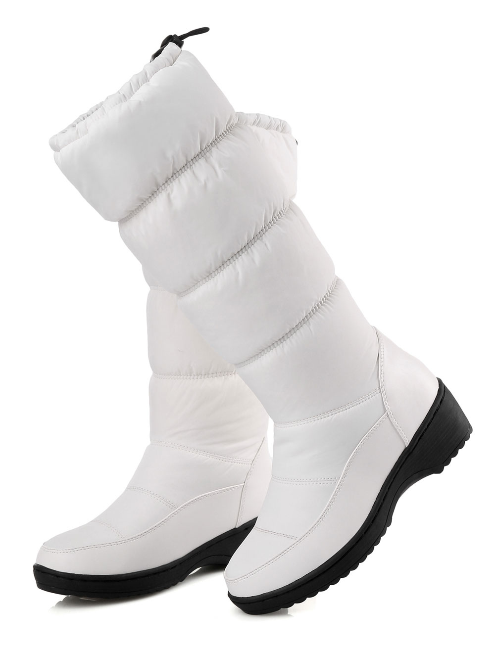 White Snow Boots Women Boots Round Toe Slip On Winter Boots thumbnail
