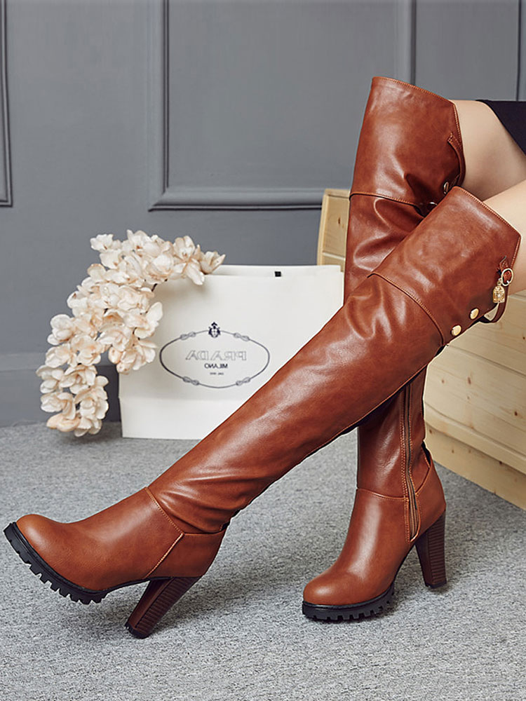 Over Knee Boots Brown Round Toe High Heel Boots Women Boots thumbnail