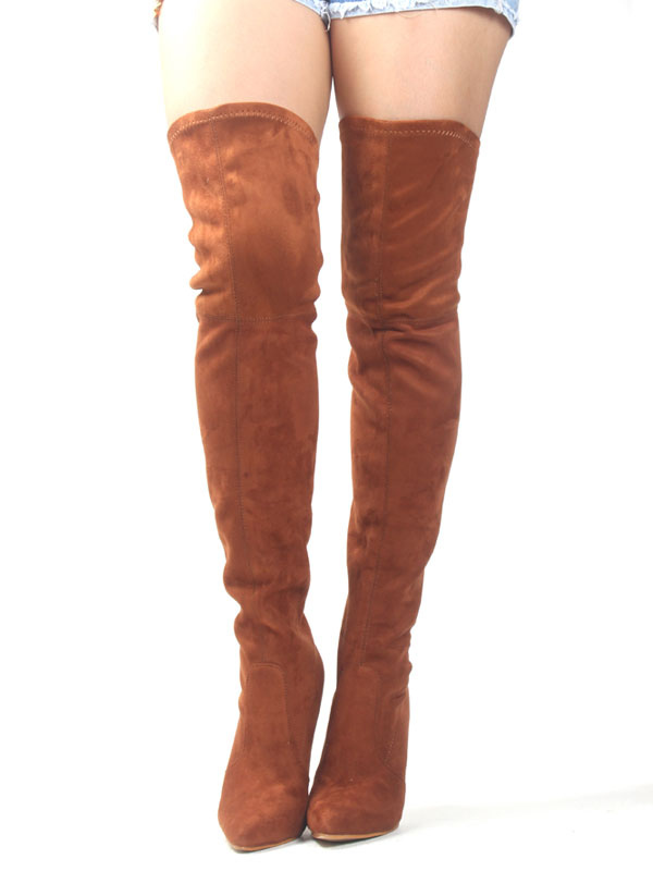 Thigh High Boots Brown Stretch Boots Pointed Toe High Heel Over Knee Boots For Women thumbnail