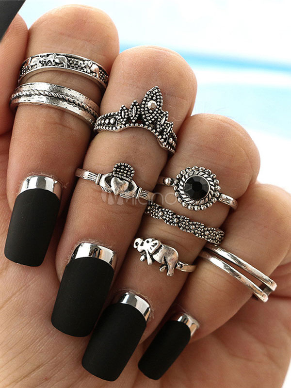 Ethnic Finger Ring Embossed Silver 8 Piece Women Ring Set thumbnail