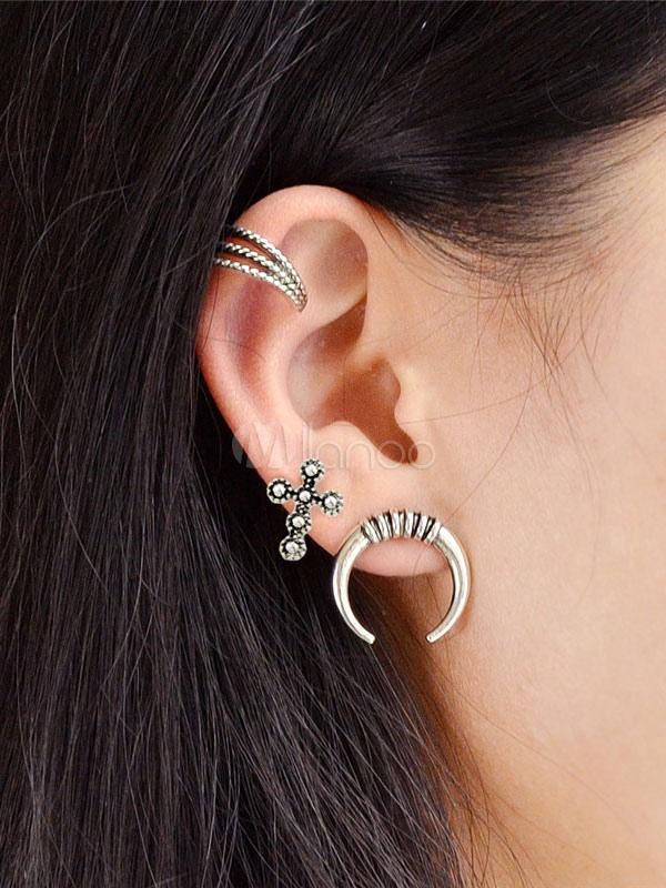 Punk Earring Set Ethnic New Moon Silver Alloy Women Earring Stud thumbnail