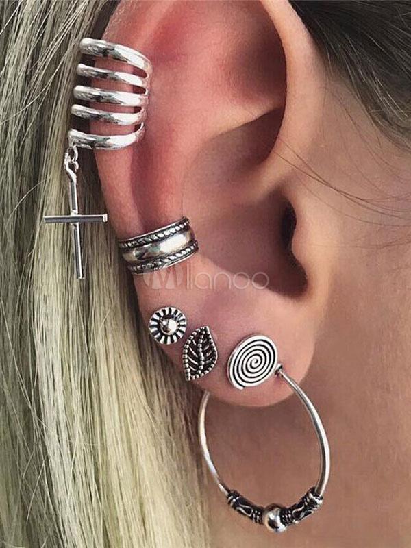 Women Earring Stud Ethnic Leaf Hoop Silver Punk Earring Set thumbnail