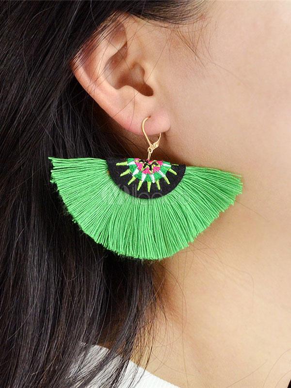 Green Tassel Earring Fan Fringe Ethnic Alloy Women Earring thumbnail
