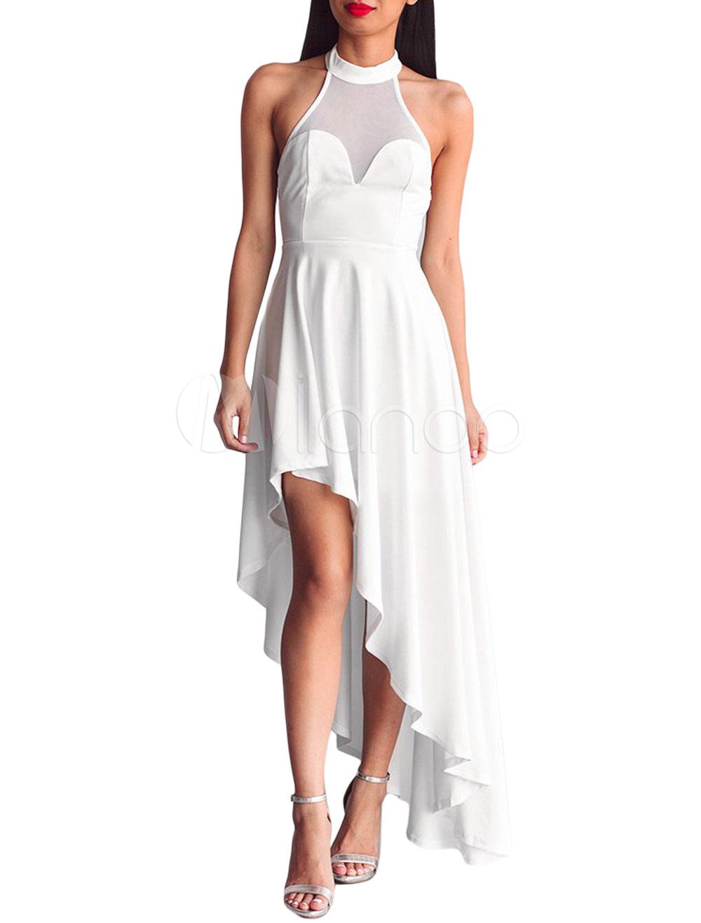 Women White Dress Party Dress High Low Crewneck Sleeveless Pleated Formal Dress (Women\\'s Clothing Maxi Dresses) photo