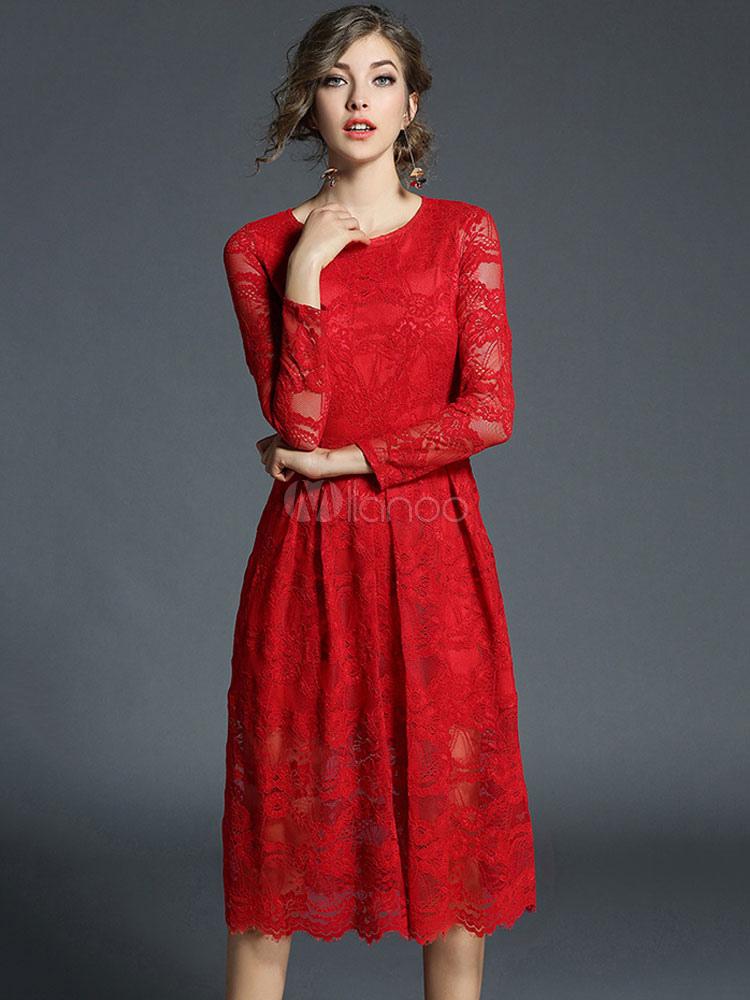 Women Red Dress Lace Long Sleeve Pleated Semi Sheer Women Spring Dress (Women\\'s Clothing Lace Dresses) photo