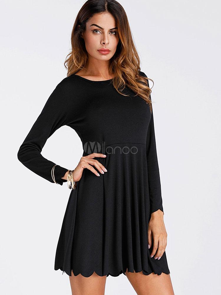 Women Spring Dress Pleated Long Sleeve Black Skater Dress (Women\\'s Clothing Skater Dresses) photo