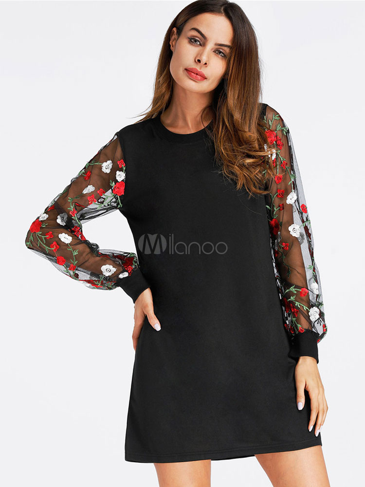 Women Spring Dress Embroidered Tulle Semi Sheer Long Sleeve Women Dress (Women\\'s Clothing Mini Dresses) photo