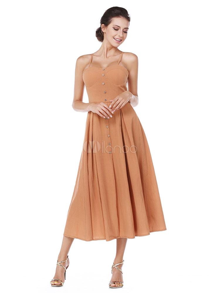 Women Party Dress Vintage Midi Dress Button Pleated Women Cotton Dress (Women\\'s Clothing Maxi Dresses) photo