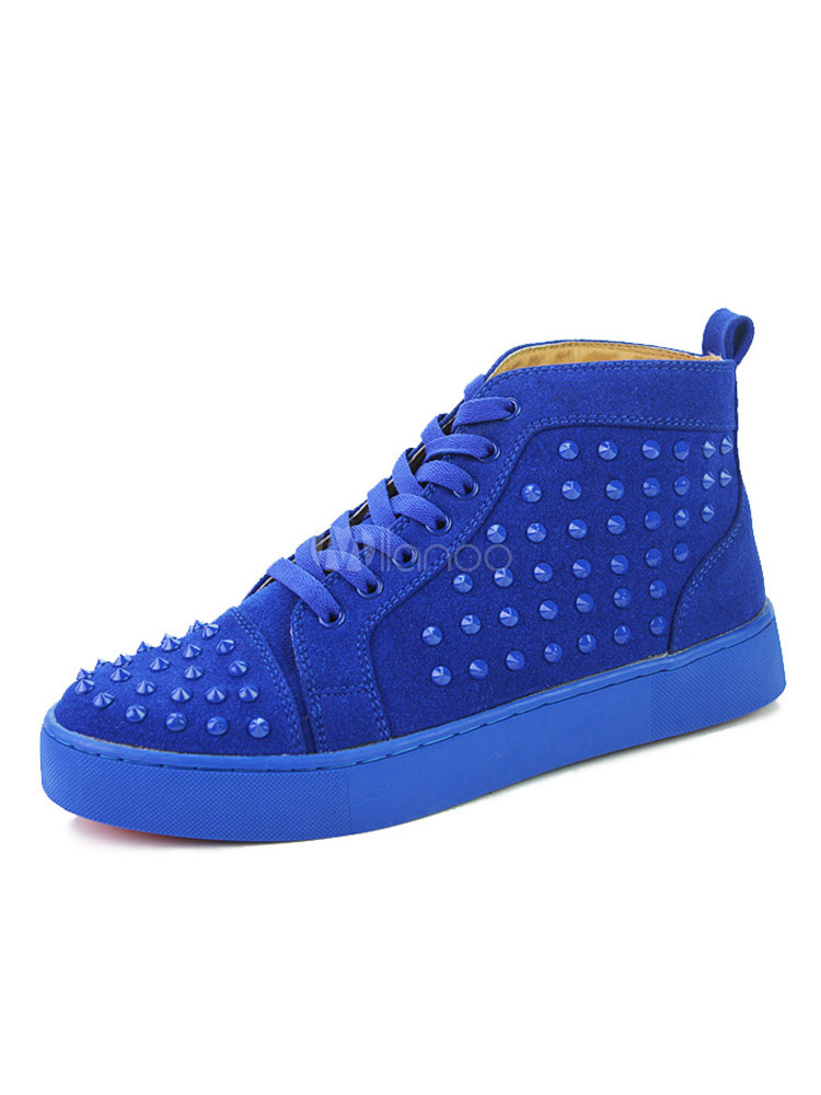 High Top Sneakers Men Skate Shoes Royal Blue Round Toe Lace Up Spike Shoes thumbnail