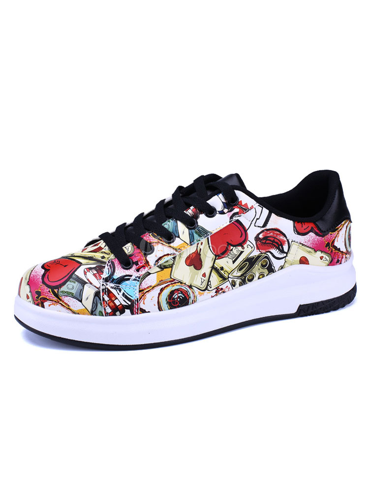 Men Skate Shoes Magenta Casual Shoes Round Toe Printed Lace Up Sneakers thumbnail