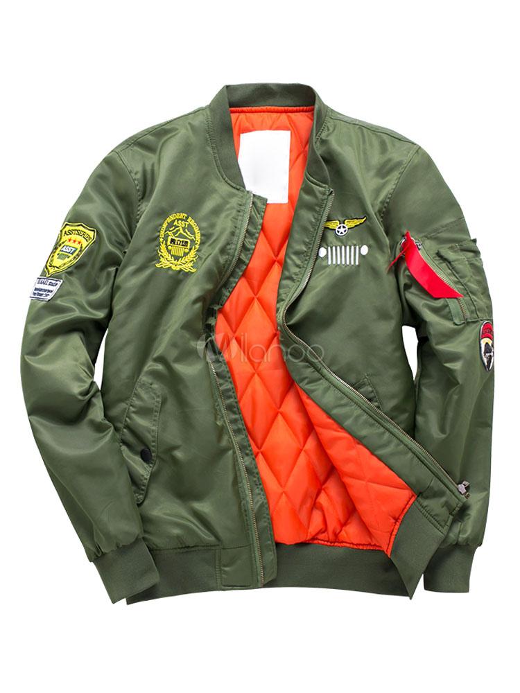 Men Bomber Jacket Hunter Green Turndown Collar Long Sleeve Short Jacket Lightweight Jacket thumbnail