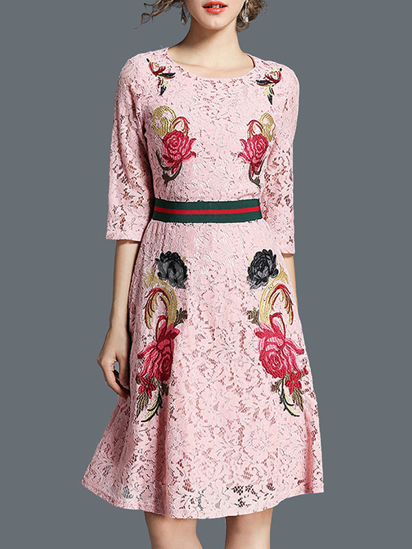 Women Lace Dress Embroidered Half Sleeve Pink Spring Women Dress (Women\\'s Clothing Lace Dresses) photo