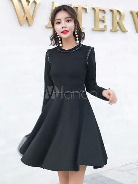 Black Skater Dress Slit Pleated Long Sleeve Women Swing Dress (Women\\'s Clothing Skater Dresses) photo