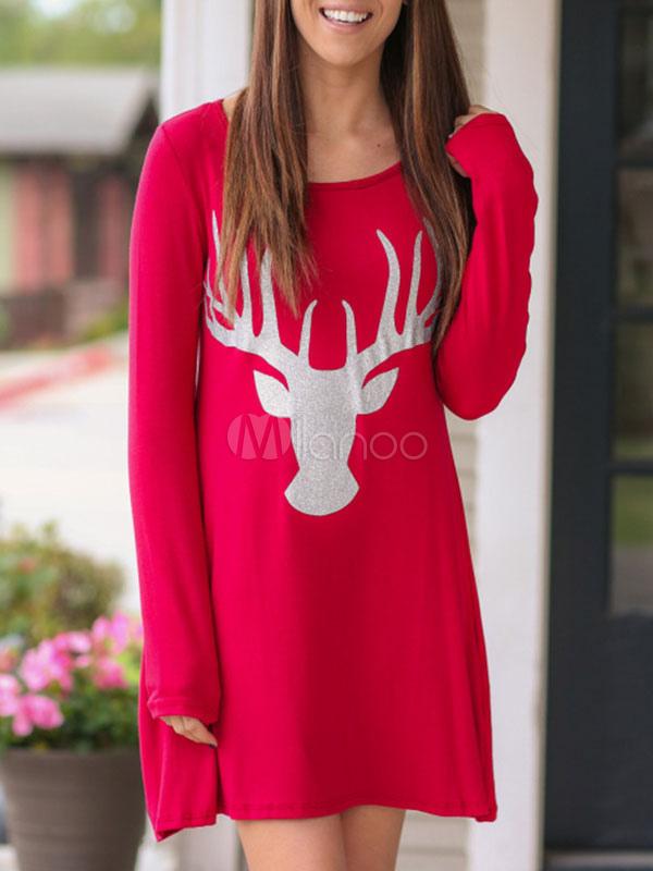 Christmas Party Dress T Shirt Dress Red Long Sleeve Round Neck Printed Mini Dress For Women (Women\\'s Clothing T-Shirt Dresses) photo