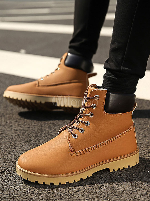 Brown Martin Boots Round Toe Lace Up Boots Men Winter Boots thumbnail