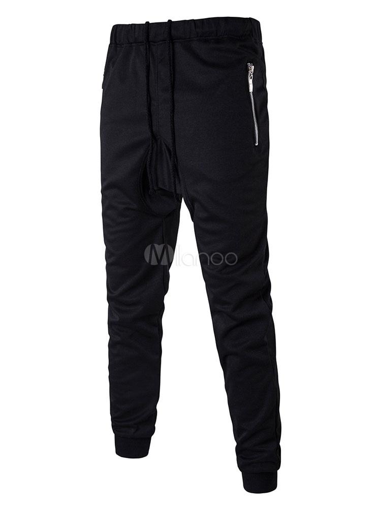 Black Jogger Pants Men Drawstring Harem Jacket thumbnail