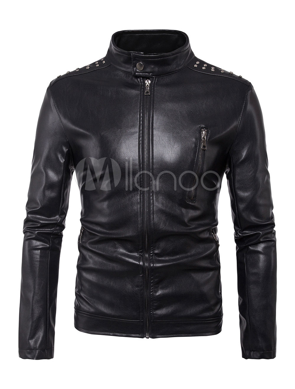 Black Motorcycle Jacket Men Leather Jacket Stand Collar Long Sleeve Zip Up Short Jacket thumbnail