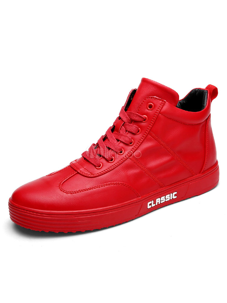 Men Skate Shoes Red High Top Sneakers Round Toe Lace Up Winter Shoes thumbnail