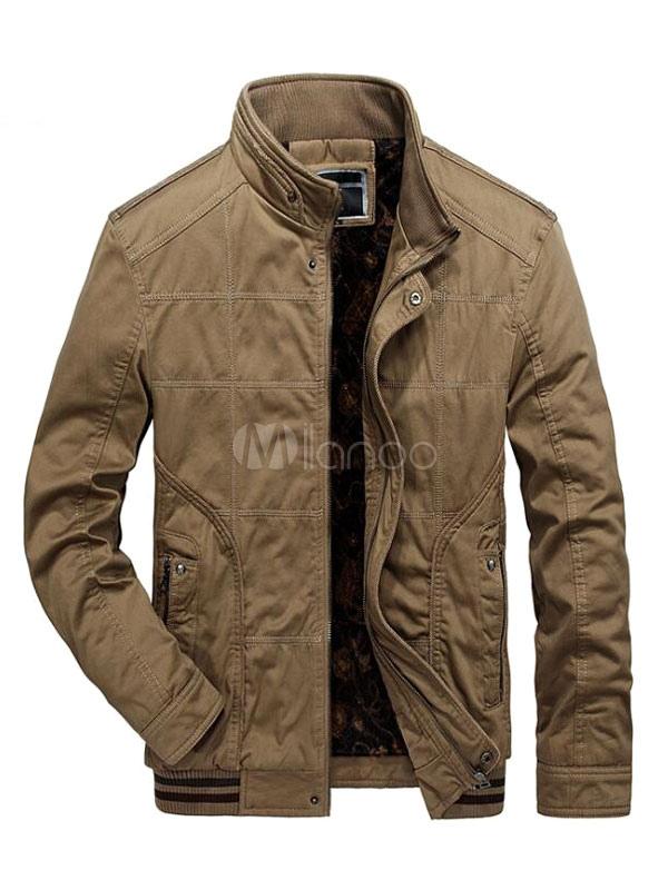 Men Jacket Khaki Short Jacket Stand Collar Long Sleeve Zip Up Casual Jacket thumbnail