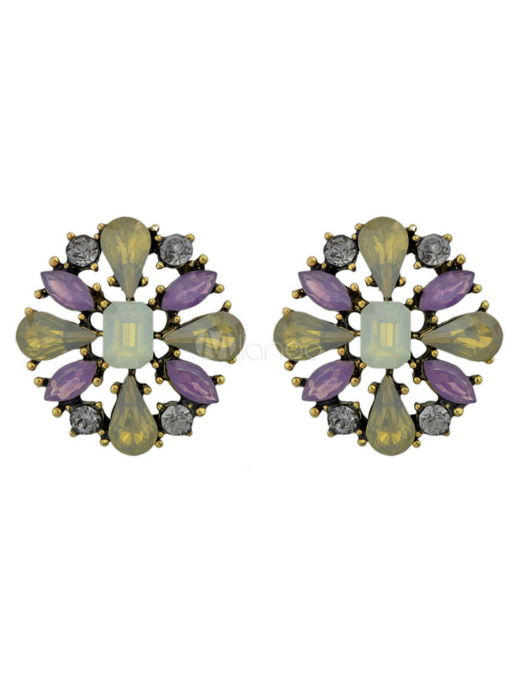Women Earring Stud Crystal Beading Alloy Vintage Earring thumbnail