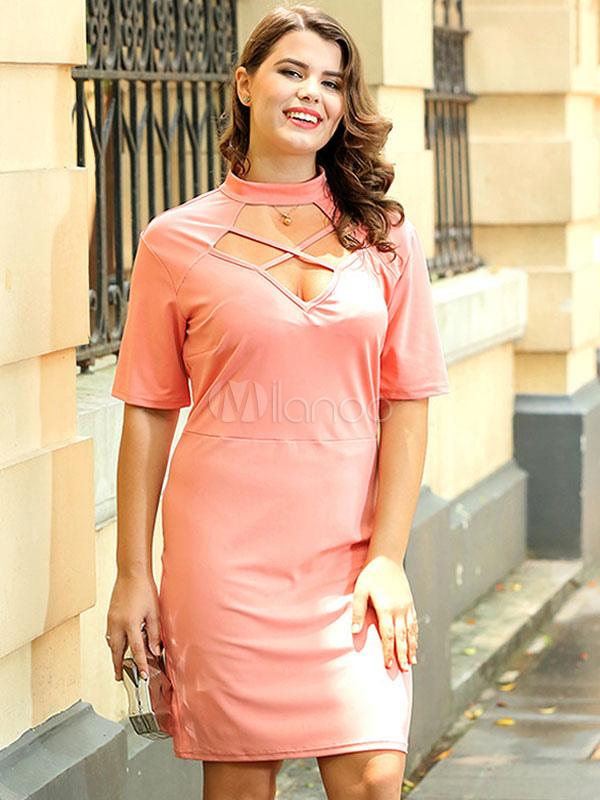 Plus Size Dress Pink Short Sleeve Crewneck Criss Cross Cut Out Bodycon Dress For Women (Women\\'s Clothing Plus Size Clothing) photo