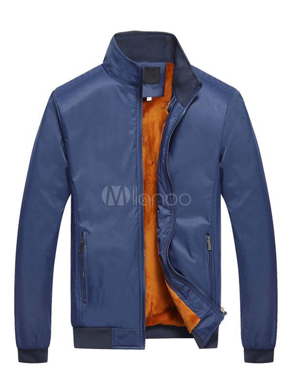 Men Winter Jacket Deep Blue Stand Collar Long Sleeve Casual Jacket Short Jacket thumbnail