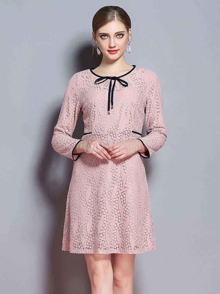 Women Lace Dress Pink Bowknot Long Sleeve Spring Dress (Women\\'s Clothing Lace Dresses) photo