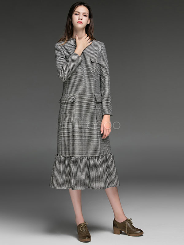 Women Dress Wool Party Dress Deep Grey Stand Collar Long Sleeve Plaid Vintage Dress (Women\\'s Clothing Party Dresses) photo