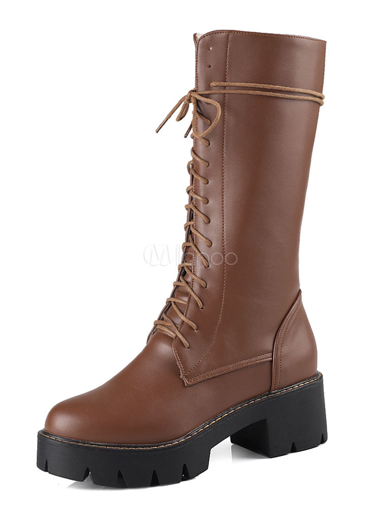 Women Combat Boots Deep Brown Lace Up Boots Round Toe Mid Calf Boots thumbnail
