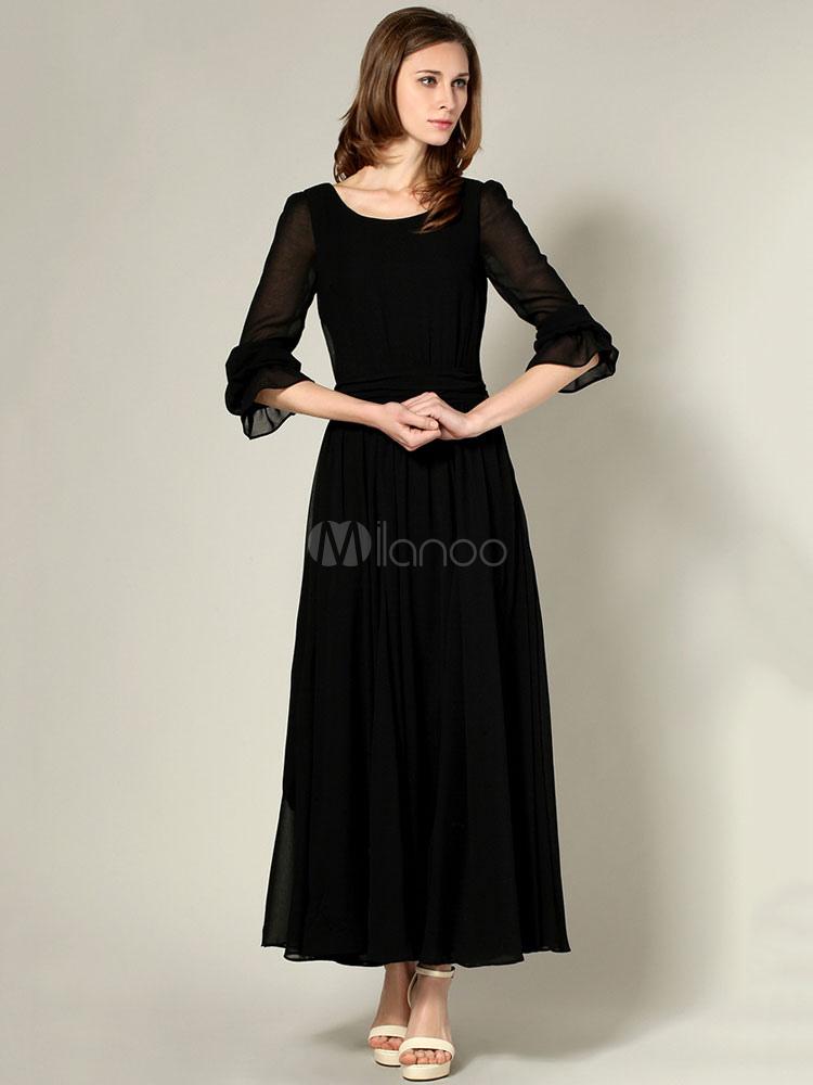 Women Black Maxi Dress Chiffon Long Sleeve Frill Pleated Long Party Dress (Women\\'s Clothing Party Dresses) photo