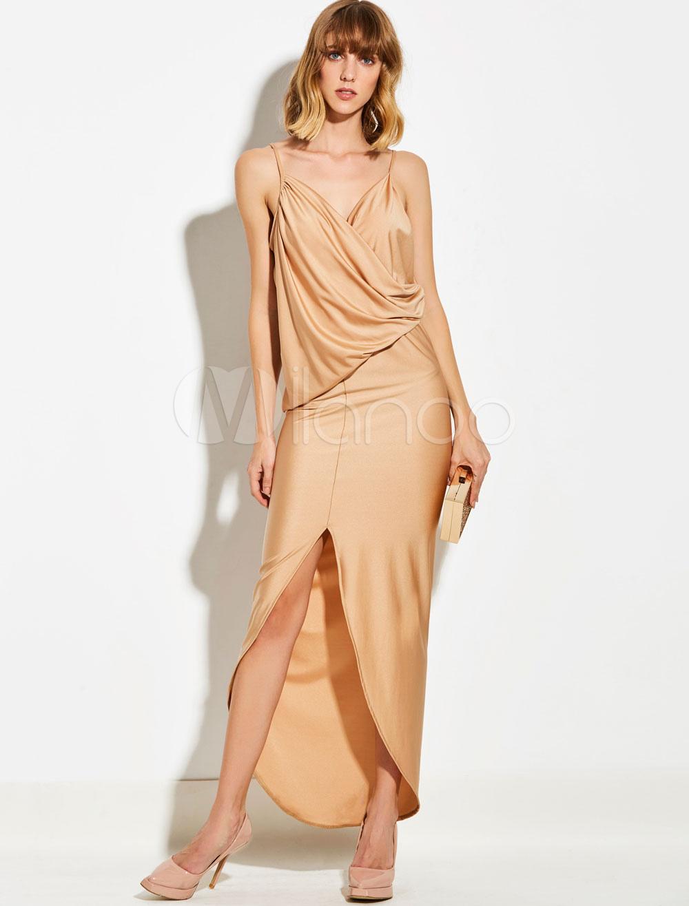 Women Maxi Dress Silk Like Strappy Slit Ruched Blonde Sleeveless Long Evening Dress (Women\\'s Clothing Maxi Dresses) photo