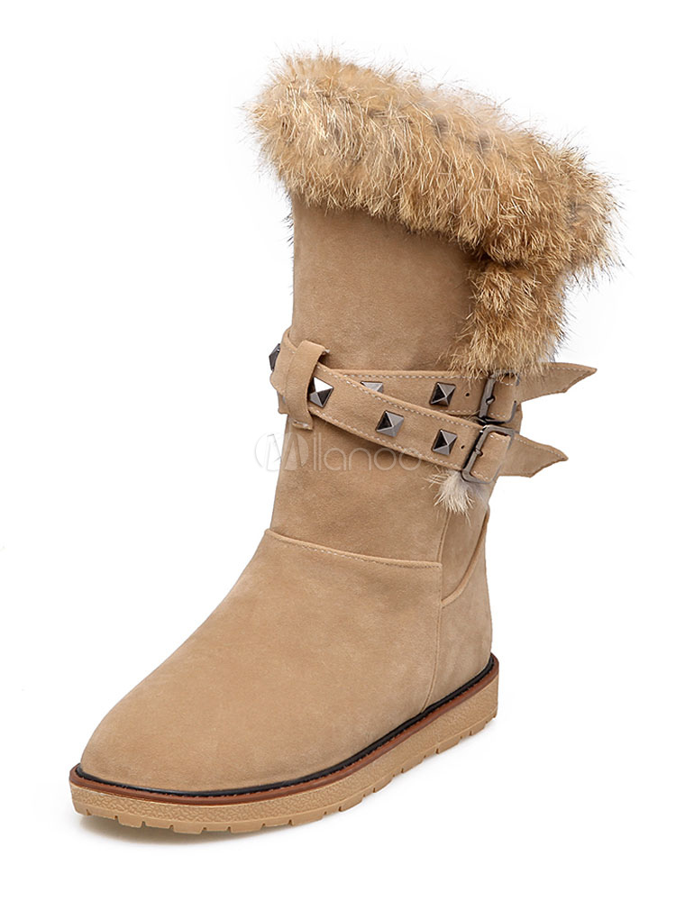 Women Snow Boots Apricot Mid Calf Boots Suede Round Toe Fur Detail Winter Boots thumbnail