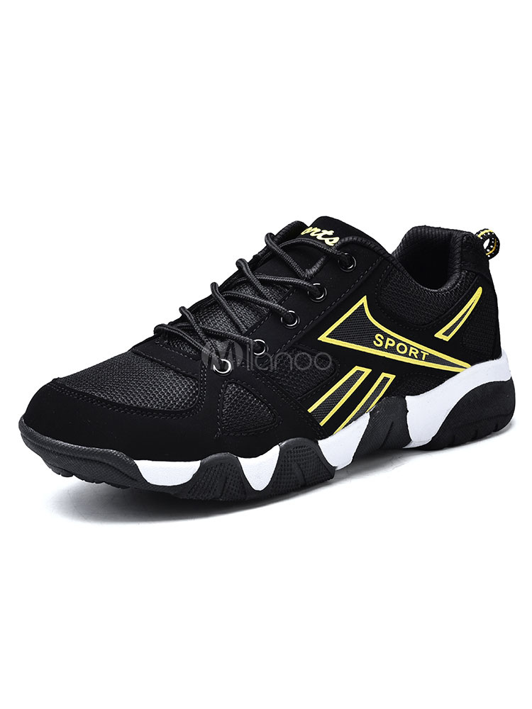Yellow Men Sneakers Round Toe Lace Up Sport Shoes Casual Shoes thumbnail