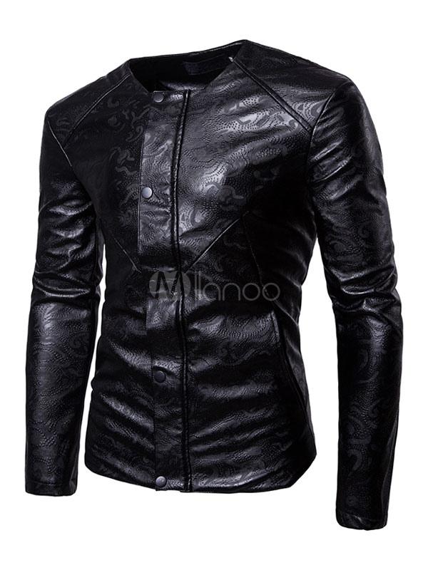 Men Leather Jacket Black Short Jacket Round Neck Long Sleeve Printed Spring Jacket thumbnail
