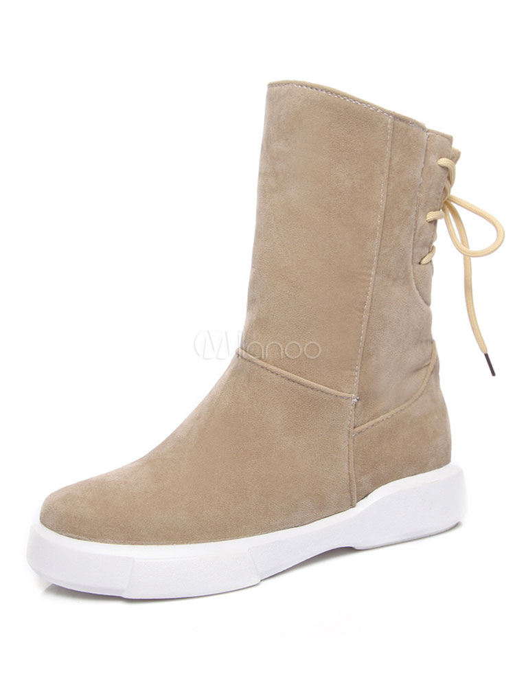 Women Winter Boots Mid Calf Boots Apricot Round Toe Lace Up Boots thumbnail