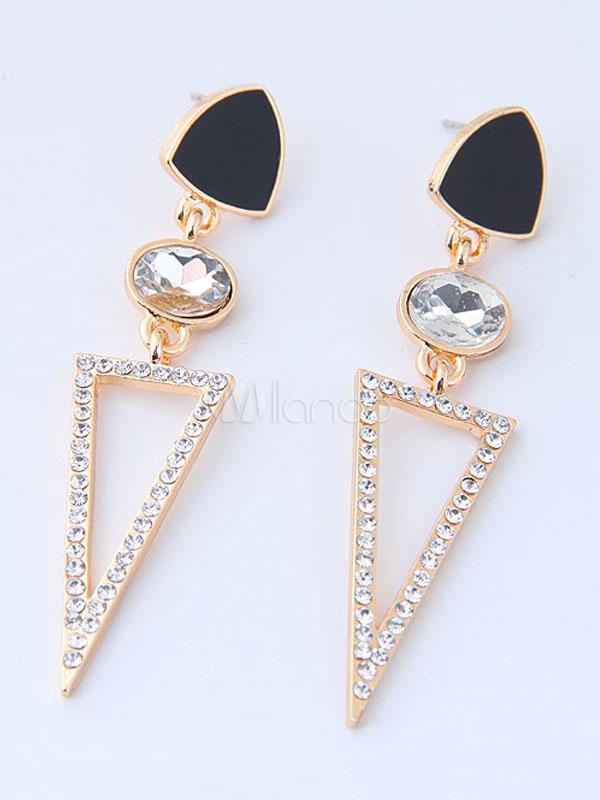 Golden Women Earring Rhinestone Geometric Hollow Out Dangle Earring thumbnail