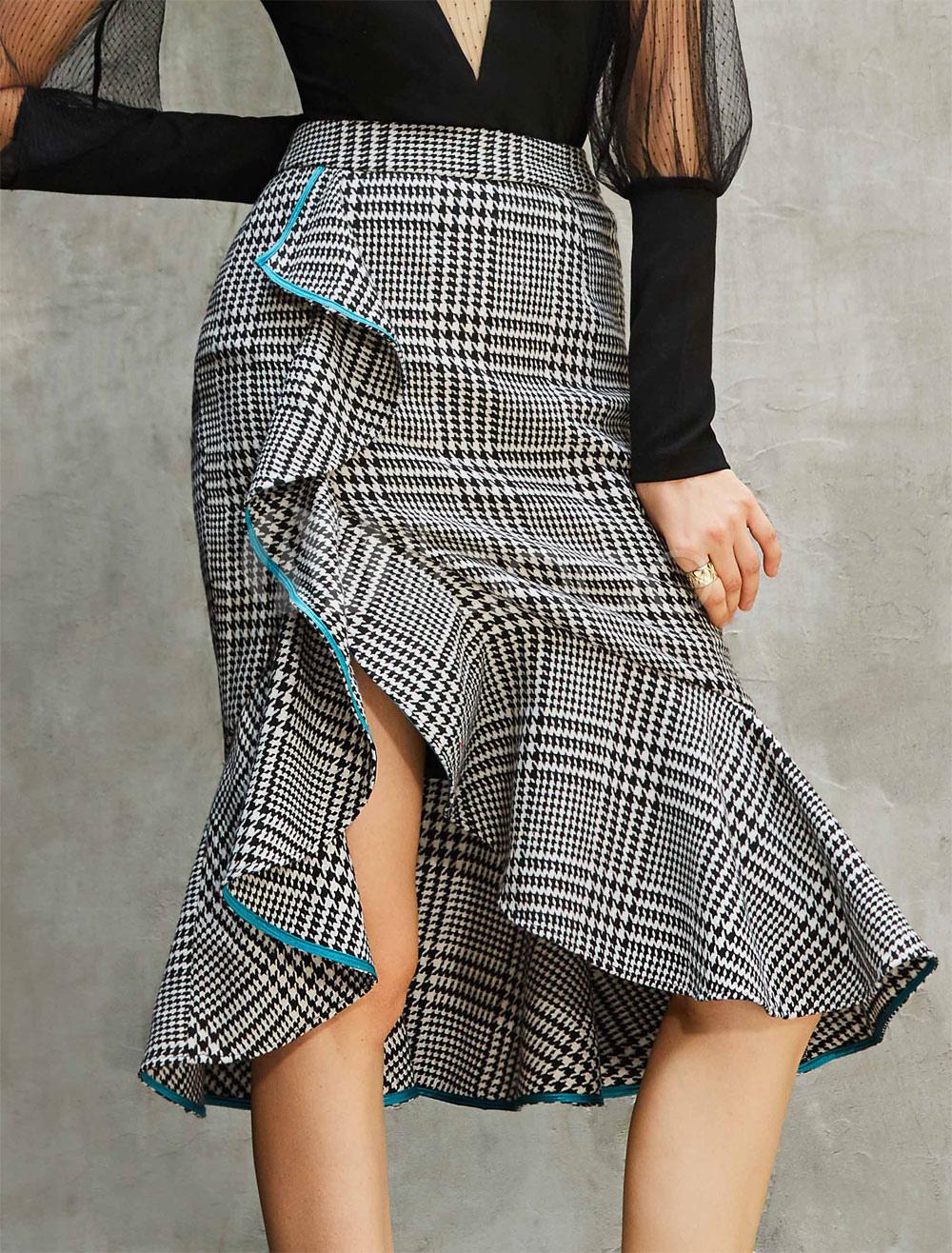 Women Skirt Black Ruffle Slit Mermaid Cotton Skirt thumbnail