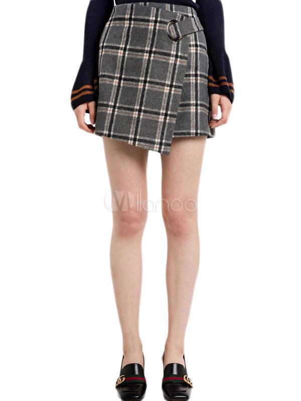 Women Mini Skirt Grey Plaid Asymmetrical Short Skirts thumbnail