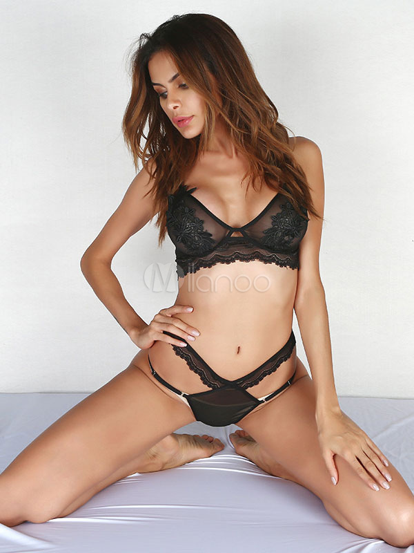 Tulle Bra Set Embroidered Applique Semi Sheer Black Women Bra With Strappy Cut Out Panty thumbnail