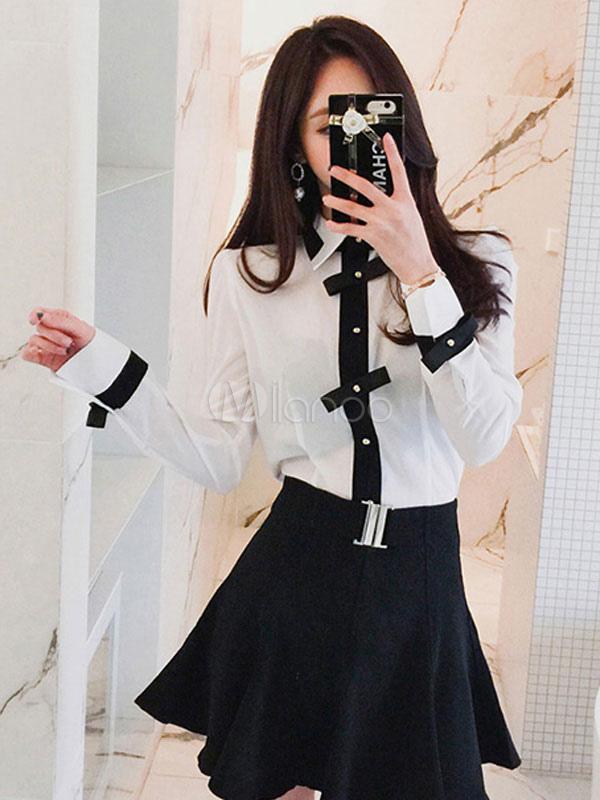 Women Shirt Long Sleeve Spread Collar Bowknot Two Tone White Women Cotton Top thumbnail
