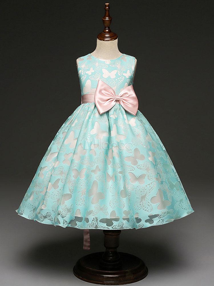Flower Girl Dresses Ball Gown Kids Pageant Dress Mint Green Bow Sash Sleeveless Little Girls Party Dress (Wedding) photo