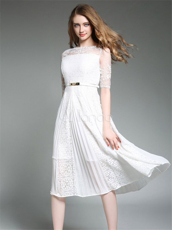Women Dress White Lace Bateau Neckline Half Sleeve Pleated Long Dress With Belt thumbnail