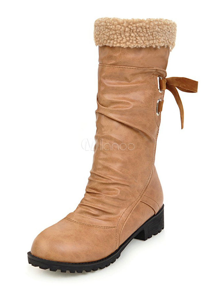 Women Boots Brown Mid Calf Boots Faux Leather Round Toe Lace Up Boots thumbnail