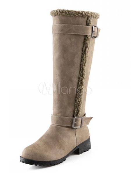 Khaki Winter Boots Women Knee High Boots Round Toe Buckle Detail Slip On Boots thumbnail