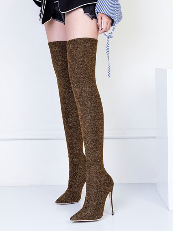 Women Stretch Boots High Heel Thigh High Boots Pointed Toe Slip On Over Knee Boots thumbnail