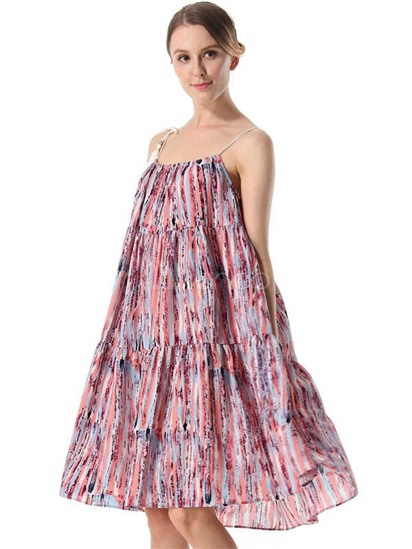 Women Summer Dresses Halter Pink Straps Sleeveless Boho Printed Backless Chiffon Dress (Women\\'s Clothing) photo