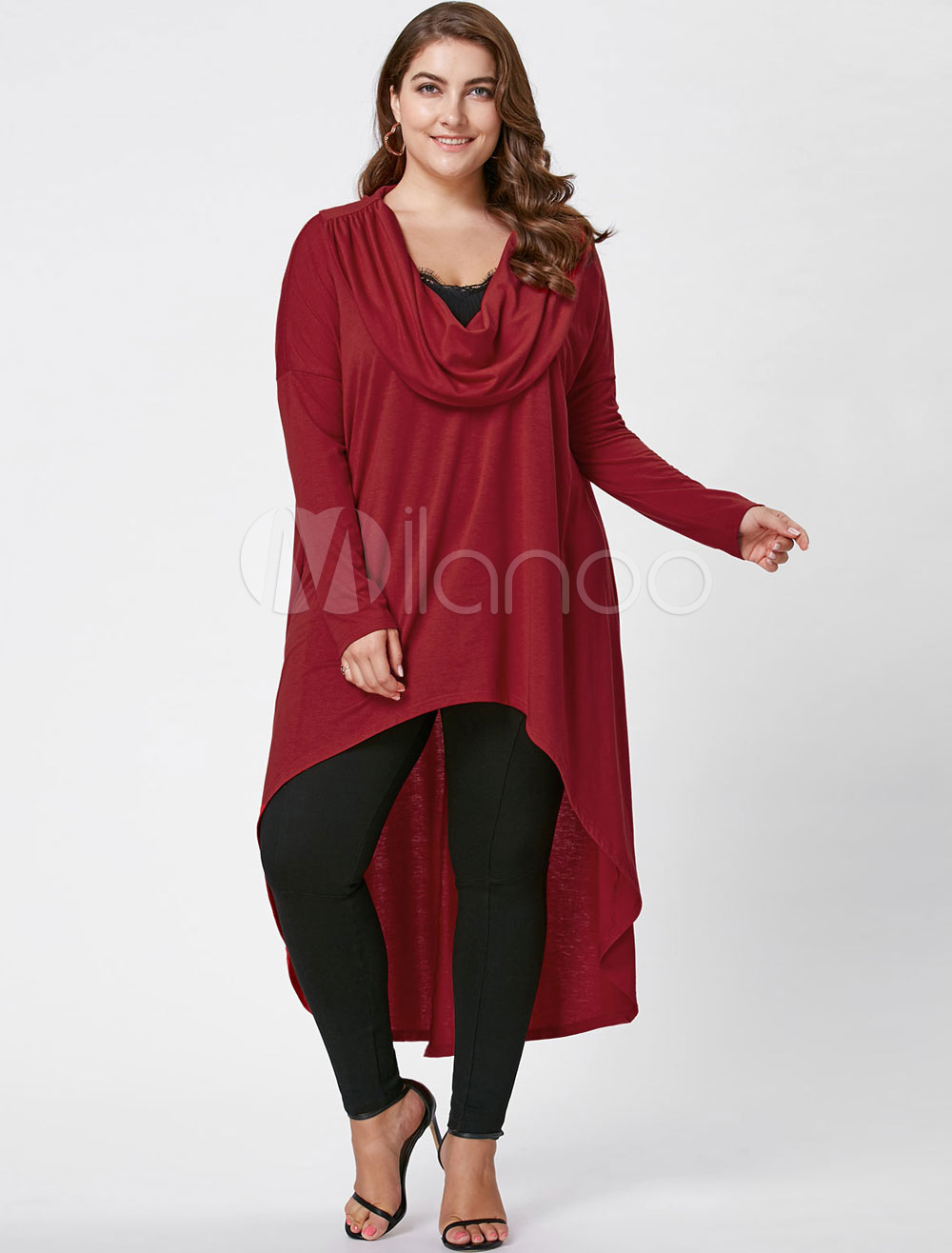 Women Dress Red Plus Size Cowl Neckline Long Sleeve High Low Spring Women Shift Dress thumbnail