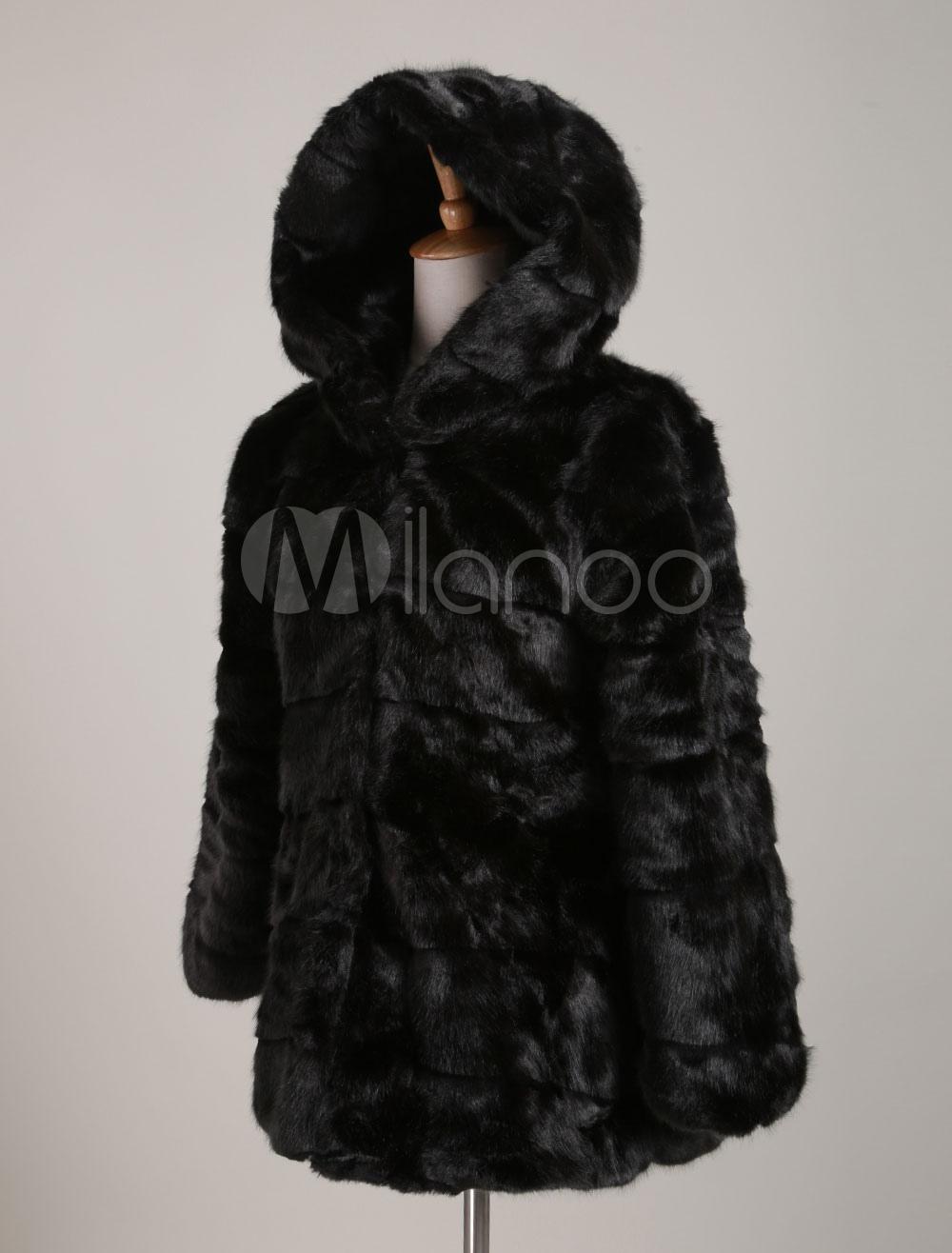 luxuri se mit kapuze kunstpelz mantel schwarz halbarm. Black Bedroom Furniture Sets. Home Design Ideas